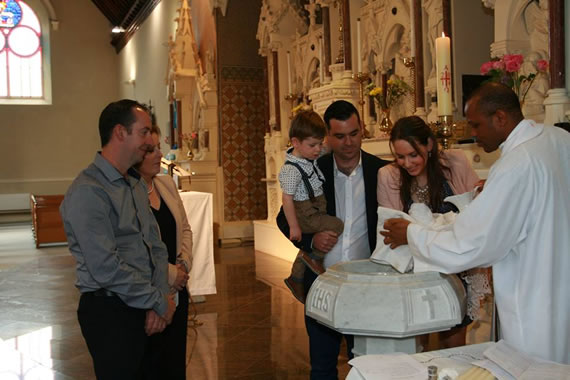 Baptism of Tadgh Flanaghan, son of Andrew & Aine 14th Sept 2014
